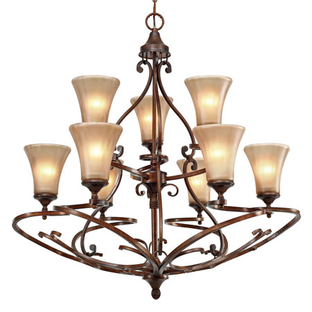 Golden Lighting Loretto 9 Light Chandelier in Russet Bronze with Riffled Tannin Glass 4002-9-RSB photo