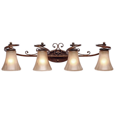 Golden Lighting Loretto 4 Light Bath Fixture in Russet Bronze with Riffled Tannin Glass 4002-BA4-RSB photo