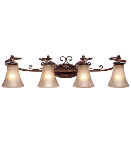 Golden Lighting 4002-BA4-RSB Loretto 4 Light 34 inch Russet Bronze Bath Vanity Wall Light photo