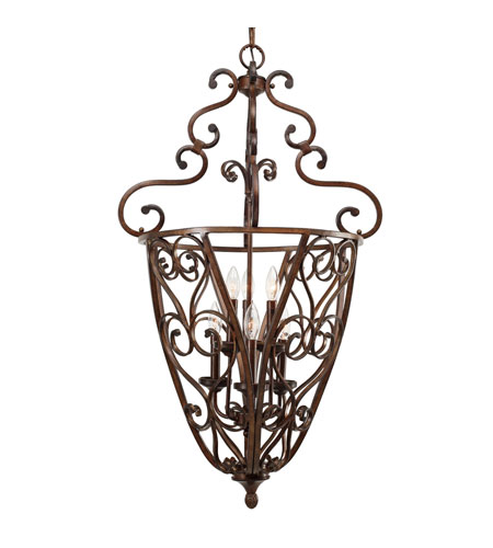Golden Lighting 4002-CG6-RSB Loretto 6 Light 23 inch Russet Bronze Caged Foyer Ceiling Light, 2 Tier photo
