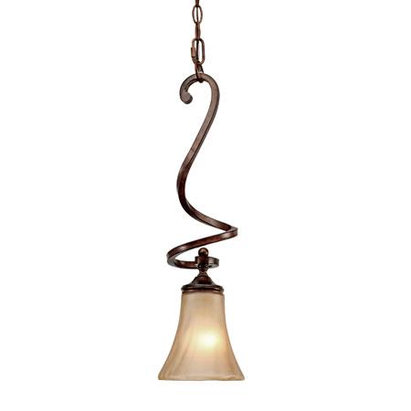 Golden Lighting Loretto 1 Light Mini Pendant in Russet Bronze with Riffled Tannin Glass 4002-M1L-RSB photo