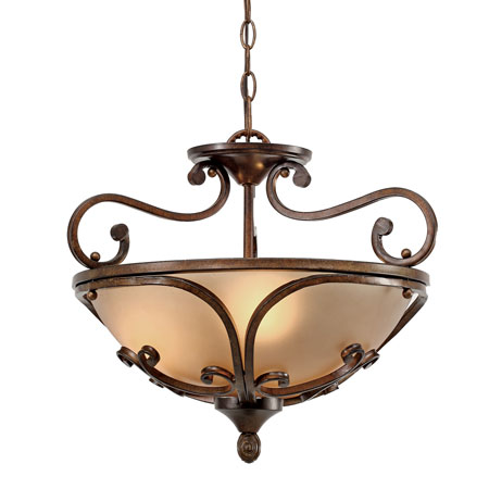 Golden Lighting Loretto 3 Light Convertible Semi-Flush in Russet Bronze with Riffled Tannin Glass 4002-SF-RSB photo