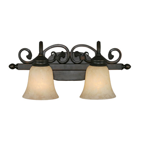 Golden Lighting Belle Meade 2 Light Bath Fixture in Rubbed Bronze with Tea Stone Glass 4074-2-RBZ photo