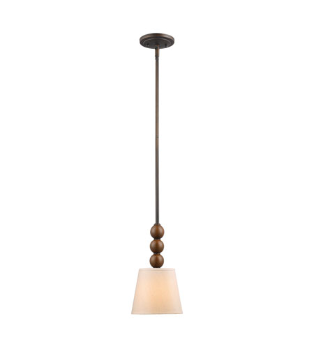 Golden Lighting Pallo 1 Light Mini Pendant in Sovereign Bronze with Natural Linen Shade 4081-M1L-SBZ photo