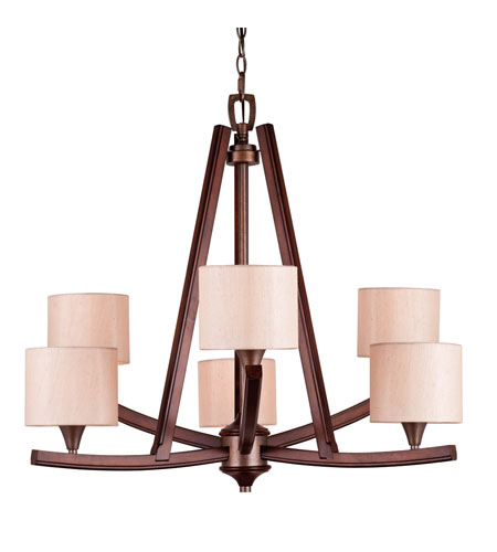 Golden Lighting Geller 6 Light Chandelier in Mahogany Wood 4090-6-MW photo