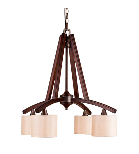 Golden Lighting Geller 4 Light Chandelier in Mahogany Wood 4090-D4-MW photo
