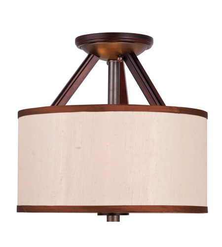 Golden Lighting Geller 3 Light Convertible Semi-Flush Mount in Mahogany Wood 4090-SF-MW photo
