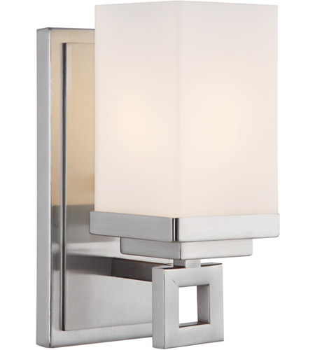 Golden Lighting Nelio 1 Light Wall Sconce in Pewter with Cased Opal Glass 4444-BA1-PW photo