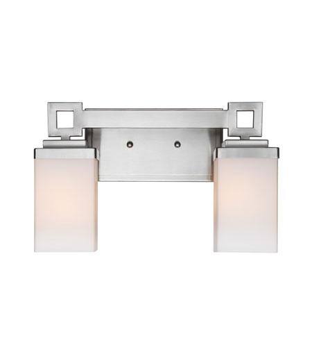 Golden Lighting Nelio 2 Light Bath Fixture in Pewter with Cased Opal Glass 4444-BA2-PW photo