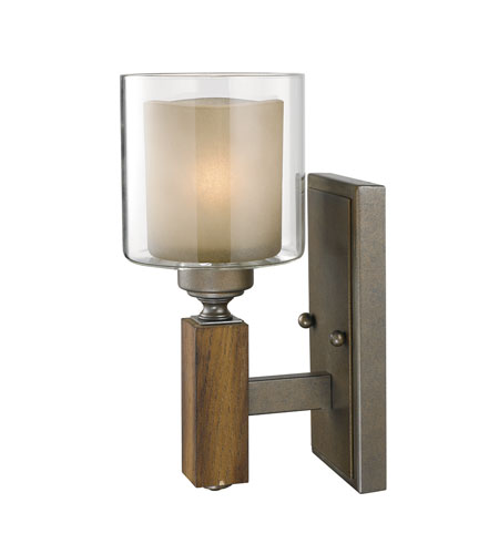 Golden Lighting Zura 1 Light Wall Sconce in Mahogany Steel Wash with Amber-Touched Pillar Glass 5010-1W-MW photo