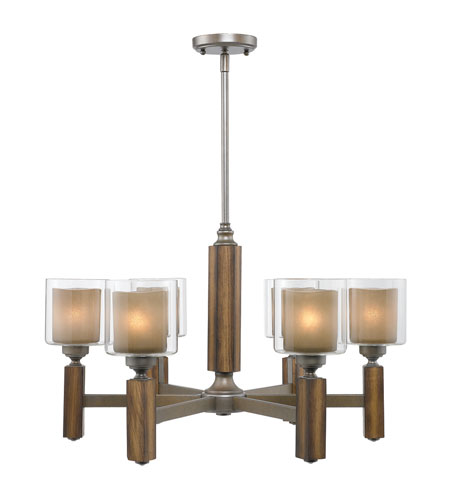 Golden Lighting Zura 6 Light Chandelier in Mahogany Steel Wash with Amber-Touched Pillar Glass 5010-6-MW photo
