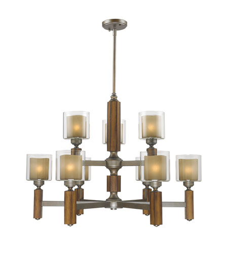 Golden Lighting Zura 9 Light Chandelier in Mahogany Steel Wash with Amber-Touched Pillar Glass 5010-9-MW photo