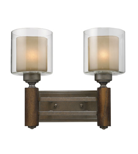 Golden Lighting Zura 2 Light Bath Fixture in Mahogany Steel Wash with Amber-Touched Pillar Glass 5010-BA2-MW photo