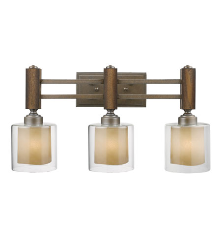 Golden Lighting Zura 3 Light Bath Fixture in Mahogany Steel Wash with Amber-Touched Pillar Glass 5010-BA3-MW photo
