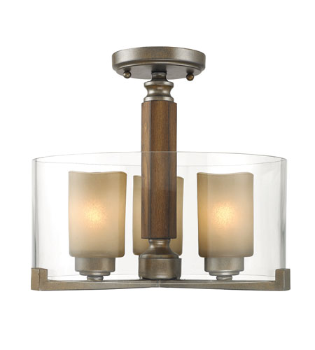 Golden Lighting Zura 3 Light Convertible Semi-Flush in Mahogany Steel Wash with Amber-Touched Pillar Glass 5010-SF-MW photo