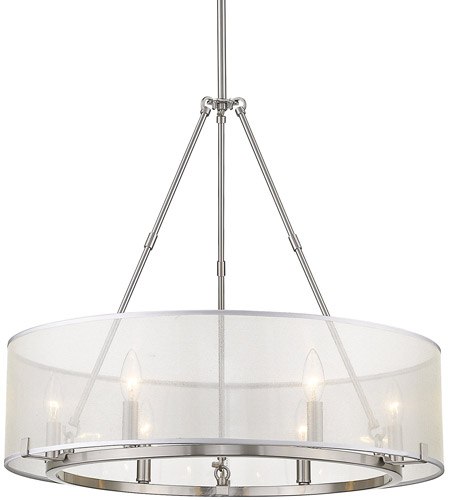 Golden Lighting 5019 6 Pw Alyssa Light 26 Inch Pewter Chandelier Ceiling Convertible To Semi Flush
