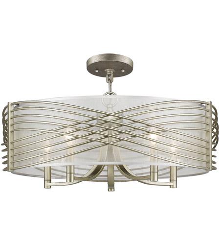 Golden Lighting 5516 5sf Wg Shr Zara 5 Light 26 Inch White Gold Semi Flush Pendant Ceiling Convertible