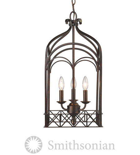 Golden Lighting 5815-3P-FB Smithsonian Gateway 3 Light 12 inch Fired Bronze Pendant Ceiling Light photo