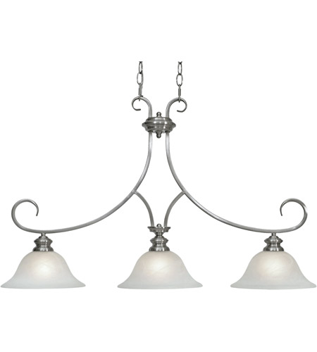 Golden Lighting 6005 10 PW Lancaster 3 Light 36 Inch Pewter Linear Pendant Ceiling In Marbled Glass