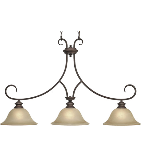 Golden Lighting 6005-10-RBZ Lancaster 3 Light 36 inch Rubbed Bronze Linear Pendant Ceiling Light in Antique Marbled Glass  photo