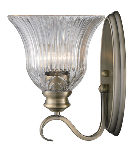 Golden Lighting Lancaster 1 Light Wall Sconce in Antique Brass with Clarion Glass 6005-1W-AB photo