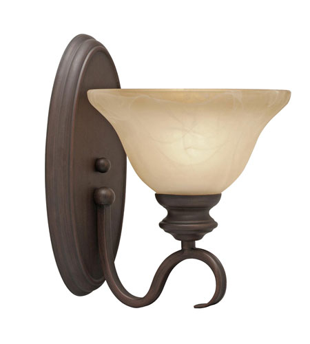 Golden Lighting 6005-1W-RBZ Lancaster 1 Light 8 inch Rubbed Bronze Wall Sconce Wall Light in Antique Marbled Glass photo