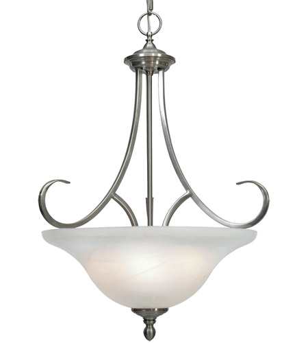 Golden Lighting 6005 3P PW Lancaster 3 Light 17 Inch Pewter Pendant Ceiling In Marbled Glass Bowl