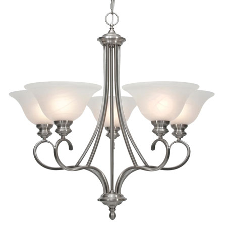 Golden Lighting Lancaster 5 Light Chandelier in Pewter with Marbled Glass 6005-5-PW photo