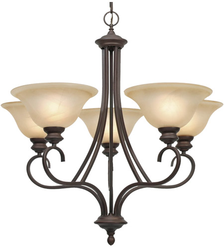 Golden Lighting 6005-5-RBZ Lancaster 5 Light 28 inch Rubbed Bronze Chandelier Ceiling Light in Antique Marbled Glass photo