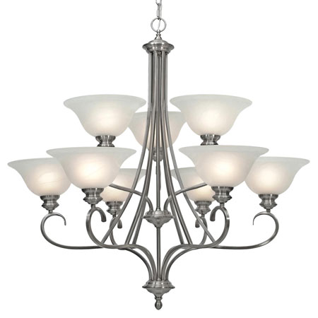 Golden Lighting Lancaster 9 Light Chandelier in Pewter with Marbled Glass 6005-9-PW photo