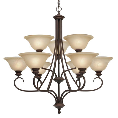 Golden Lighting Lancaster 9 Light Chandelier in Rubbed Bronze with Antique Marbled Glass 6005-9-RBZ photo