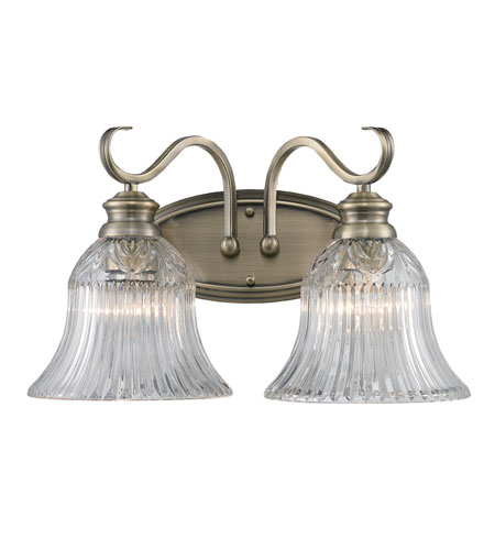 Golden Lighting Lancaster 2 Light Bath Fixture in Antique Brass with Clarion Glass 6005-BA2-AB photo