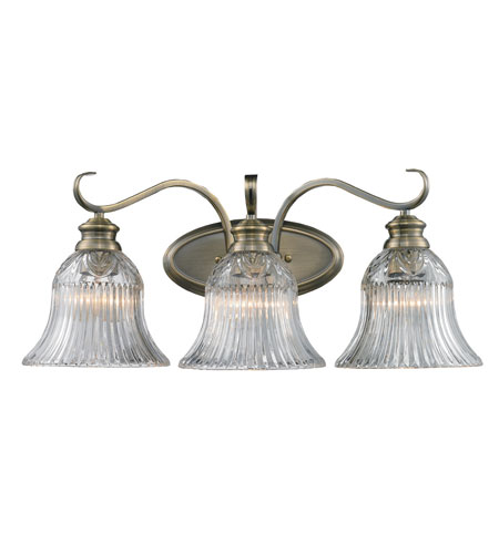 Golden Lighting Lancaster 3 Light Bath Fixture in Antique Brass with Clarion Glass 6005-BA3-AB photo