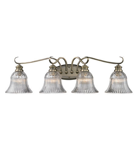 Golden Lighting Lancaster 4 Light Bath Fixture in Antique Brass with Clarion Glass 6005-BA4-AB photo