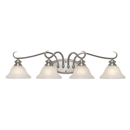 Golden Lighting Lancaster 4 Light Bath Fixture in Pewter with Marbled Glass 6005-BA4-PW photo