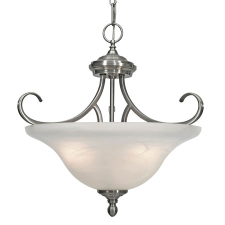 Golden Lighting Lancaster 3 Light Convertible Semi-Flush in Pewter with Marbled Glass 6005-SF-PW photo