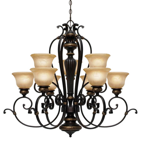 Golden Lighting Jefferson 9 Light Chandelier in Etruscan Bronze with Antique Marbled Glass 6029-9-EB photo
