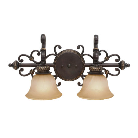 Golden Lighting Jefferson 2 Light Bath Fixture in Etruscan Bronze with Antique Marbled Glass 6029-BA2-EB photo