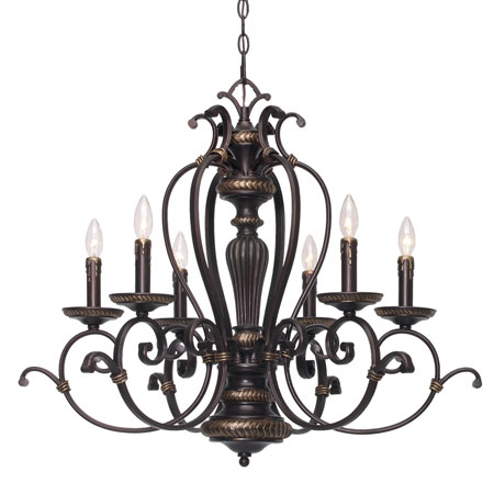 Golden Lighting Jefferson 6 Light Chandelier in Etruscan Bronze with Drip Candlesticks 6029-CN6-EB photo