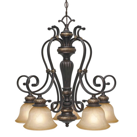 Golden Lighting Jefferson 5 Light Chandelier in Etruscan Bronze with Antique Marbled Glass 6029-D5-EB photo