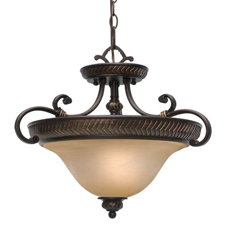 Golden Lighting Jefferson 3 Light Convertible Semi-Flush in Etruscan Bronze with Antique Marbled Glass 6029-SF-EB photo