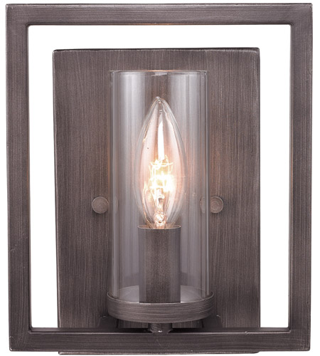 Golden Lighting Marco 1 Light Wall Sconce in Gunmetal Bronze 6068-1W-GMT photo