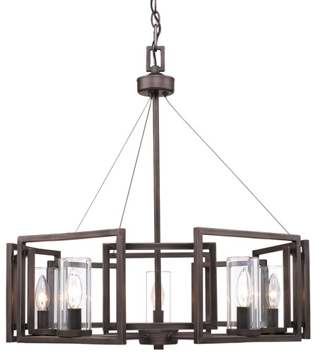 Golden Lighting 6068-5-GMT Marco 5 Light 25 inch Gunmetal Bronze Chandelier Ceiling Light photo