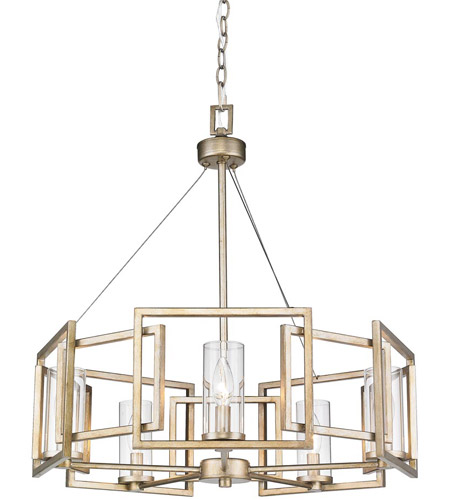 Golden Lighting 6068-5-WG Marco 5 Light 25 inch White Gold Chandelier Ceiling Light photo