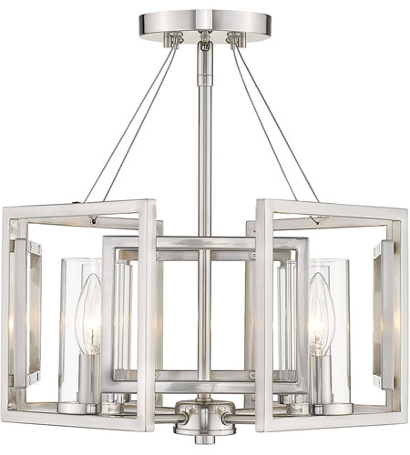 Golden Lighting 6068-SF-PW Marco 4 Light 16 inch Pewter Semi-Flushmount Ceiling Light, Convertible to Pendant photo thumbnail