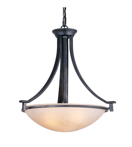 Golden Lighting Hampden 3 Light Bowl Pendant in Dark Natural Iron with Birch Glass 6262-3P-DNI photo
