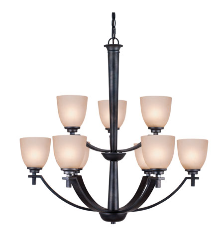 Golden Lighting Hampden 9 Light Chandelier in Dark Natural Iron with Birch Glass 6262-9-DNI photo