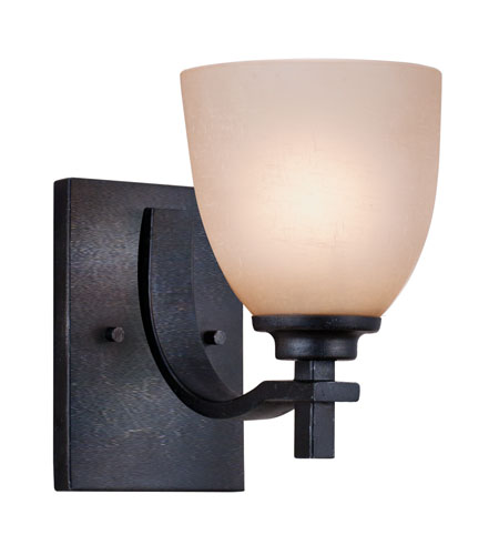 Golden Lighting Hampden 1 Light Wall Sconce in Dark Natural Iron with Birch Glass 6262-BA1-DNI photo