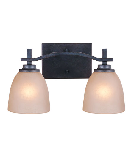 Golden Lighting Hampden 2 Light Bath Fixture in Dark Natural Iron with Birch Glass 6262-BA2-DNI photo