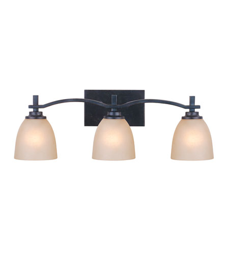 Golden Lighting Hampden 3 Light Bath Fixture in Dark Natural Iron with Birch Glass 6262-BA3-DNI photo